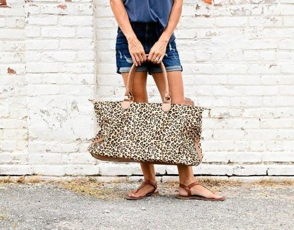 Large Leopard Weekender Bag