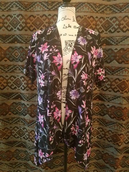 Black & Purple Floral Kimono