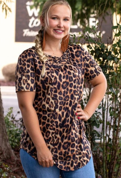 Leopard Caged Neck Short Sleeve Top