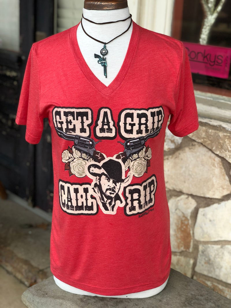 Get a Grip Call Rip V-Neck Heather Red Tee