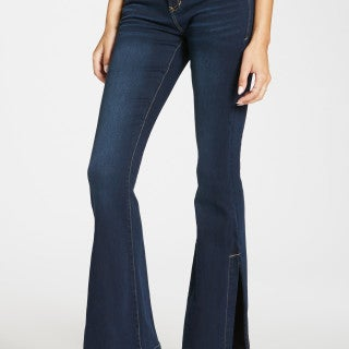 Sadie Mirage Highrise Dark Flare Jean w/Side Slit SIZE