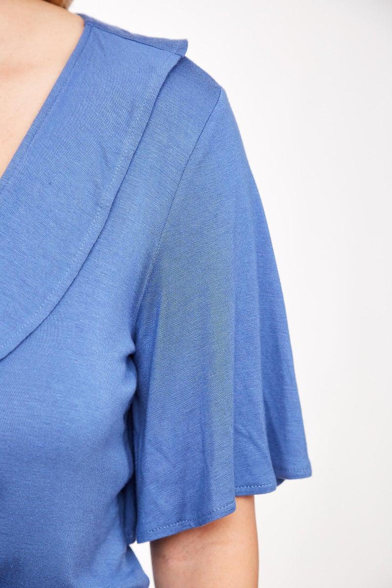 Blue Ruffle Wrap V-Neck Top
