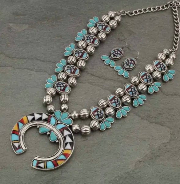 Aztec & Turquoise Squash Printed Necklace Set