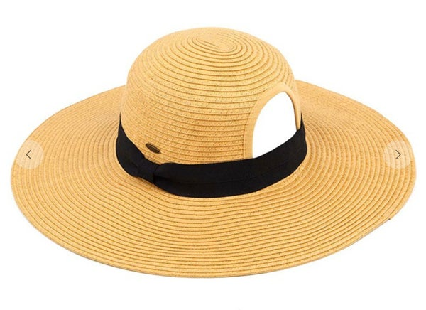 Natural C.C Paper Straw Wide Brim Hat with Ponytail Opening