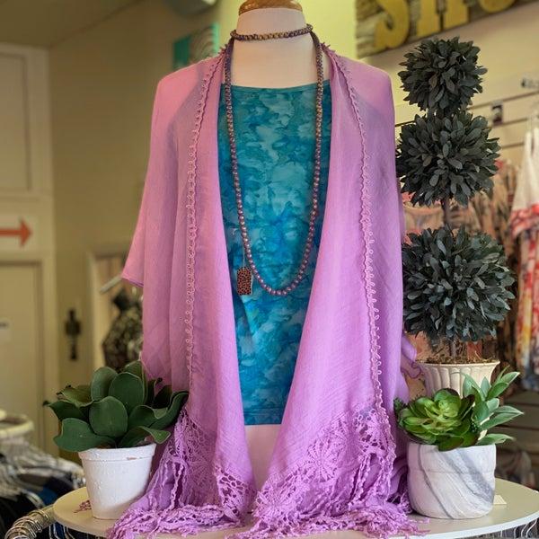 ONE SIZE - Purple Fringe Kimono