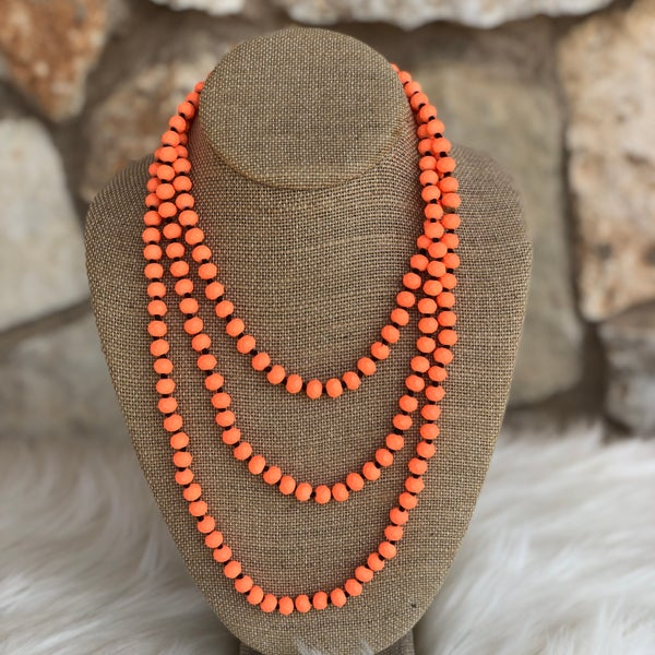 "Neon Coral 60"" Crystal Necklace"