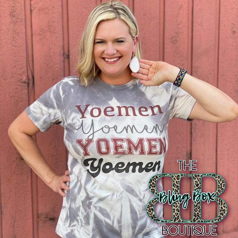 Yoemen Printed Grey Twist Bleached Tee