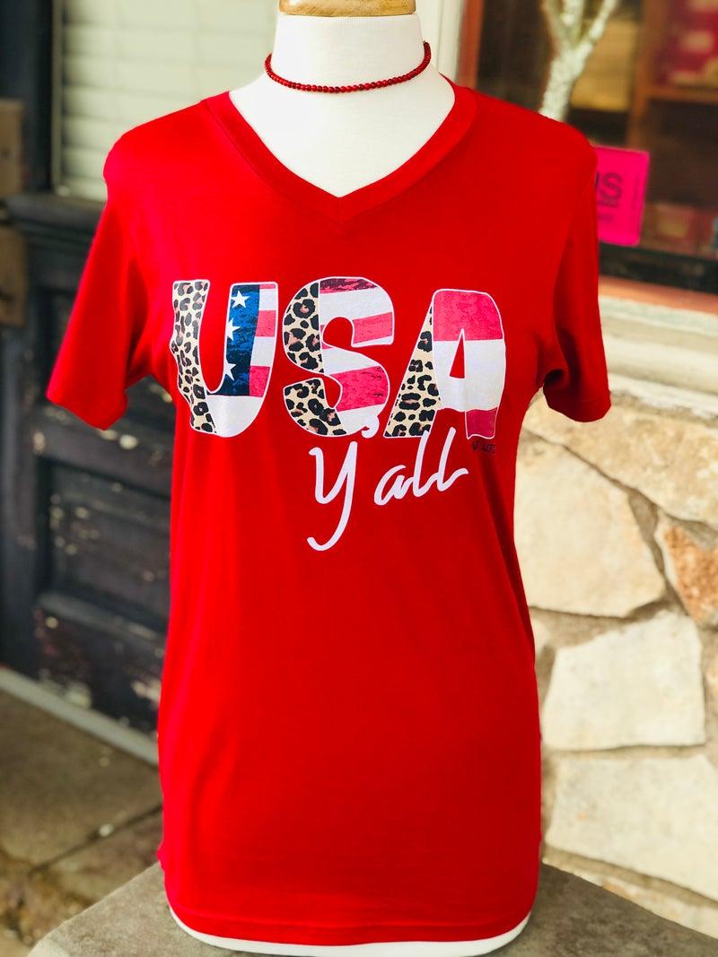 Red V-Neck USA Ya'll Leopard Print Tee