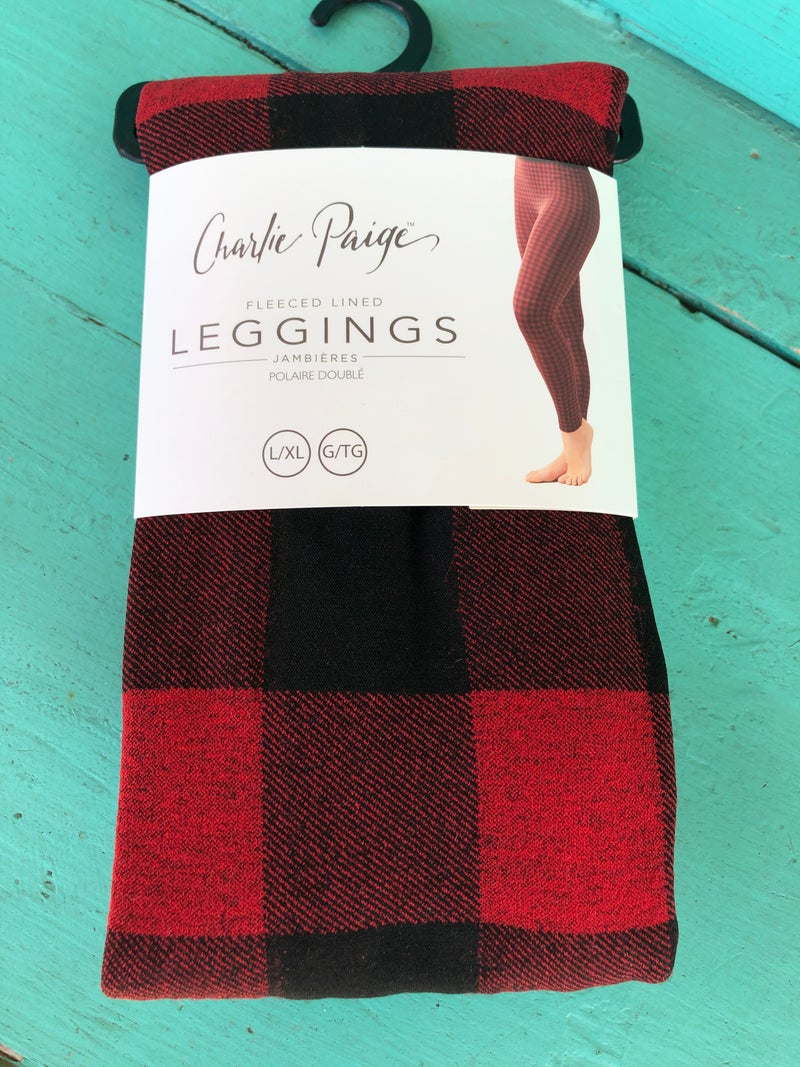 Big Printed Red Buffalo Plaid Fleece Leggings