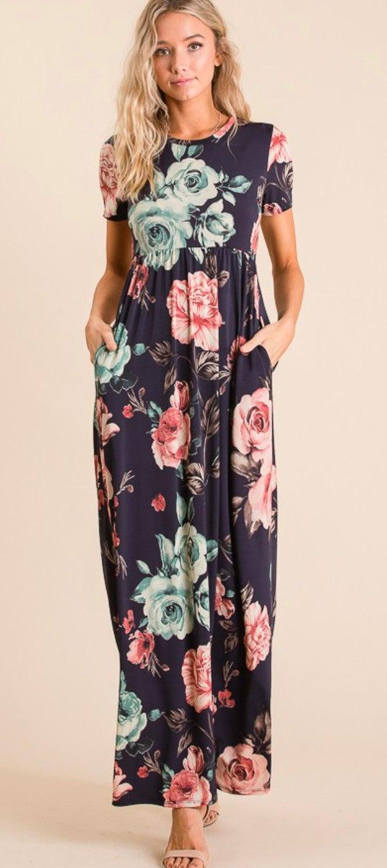 Navy Floral Mix Short Sleeve Maxi Dress w/Pockets
