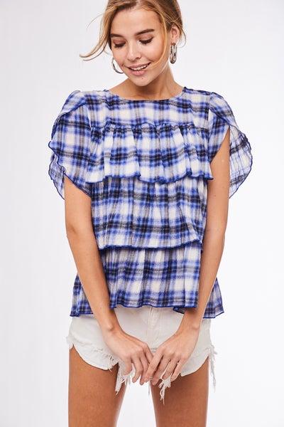 Cobalt Blue Tiered Plaid Short Sleeve Top