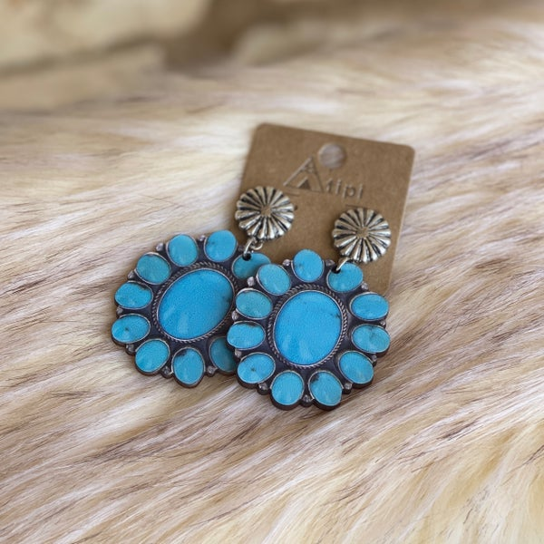 Turquoise Stone Concho Post Earrings