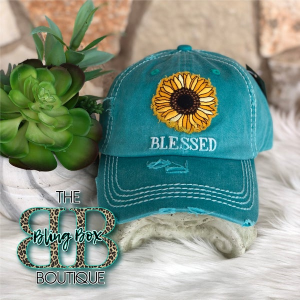 Sunflower Blessed Turquoise Vintage Hat