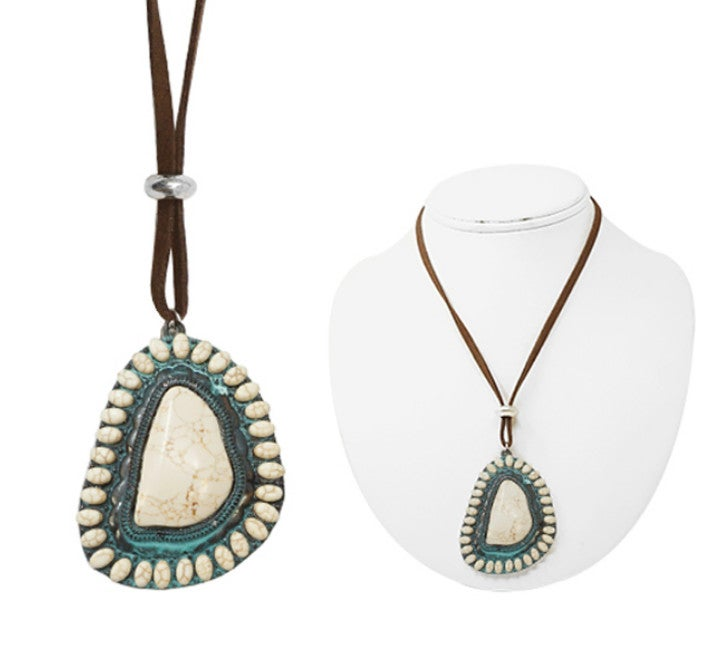 Cream & Patina Stone Desperado Medallion Leather Necklace