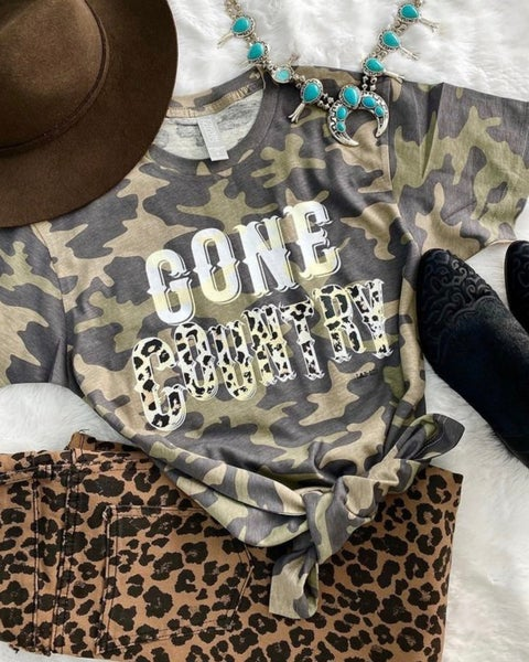 Camo Gone Country Leopard Tee