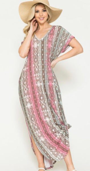 Pink Tribal Print V-Neck Maxi Dress with Pockets