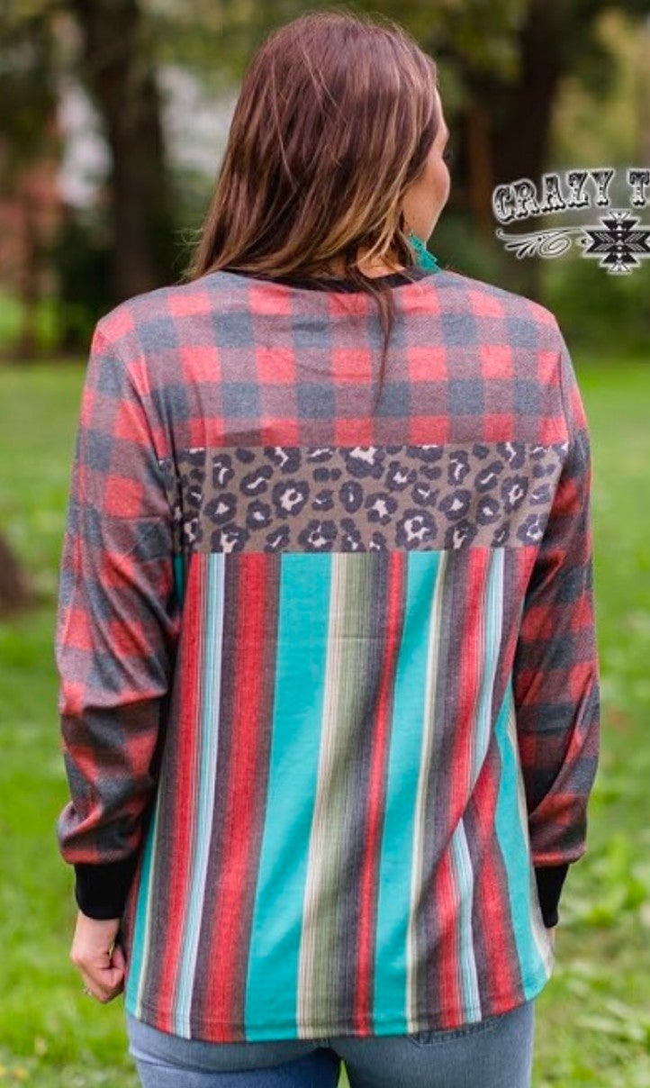 Mistletoe Momma Leopard Buffalo Plaid Serape Top