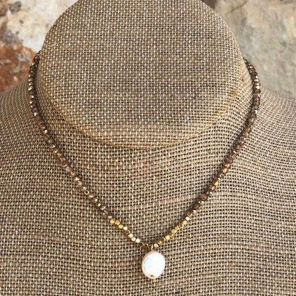 Champagne Crystal  with Freshwater Pearl Charm Choker Necklace