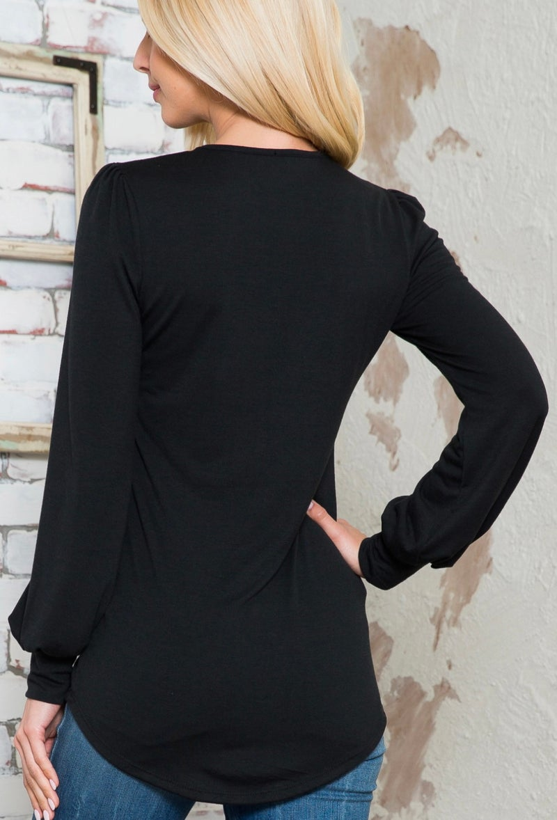 Black Solid Long Sleeve Round Neck Top