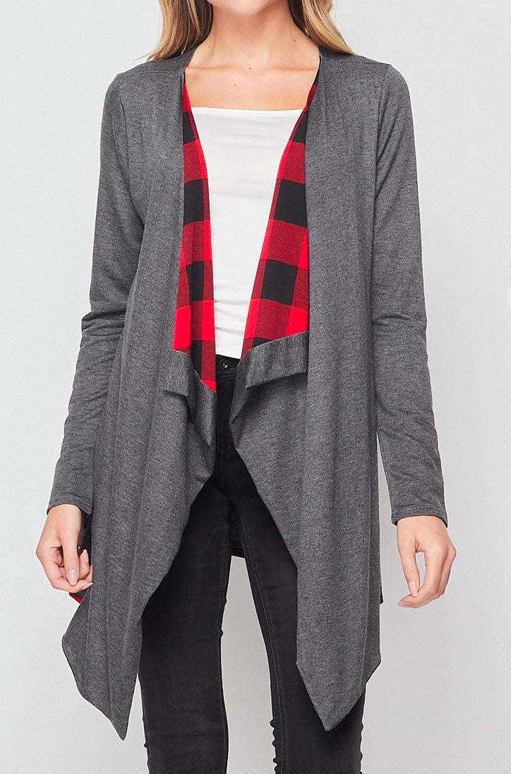 Plus Charcoal Red Plaid Draped Cardigan
