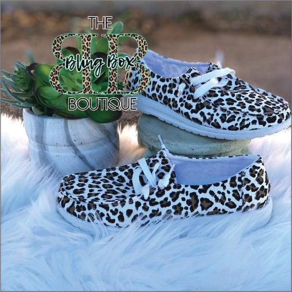 Cheetah Gypsy Jazz White Tan Sneakers