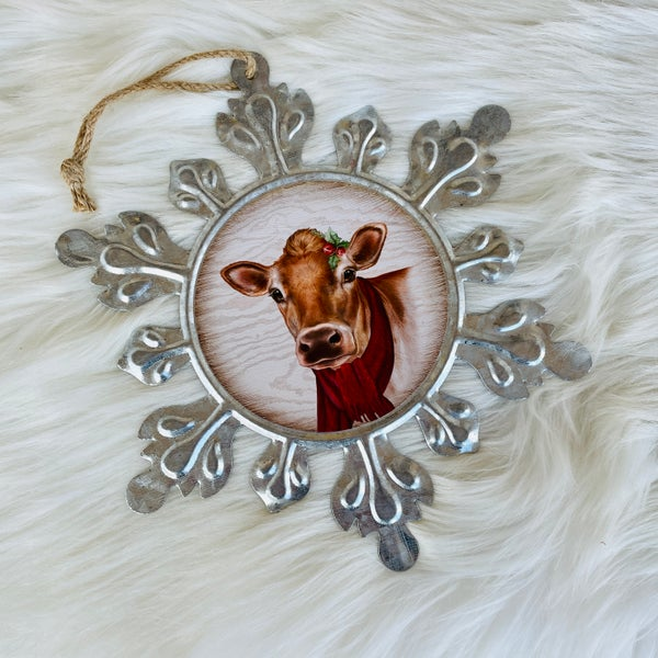 "Large Galvanized Snowflake Cow 9"" x 9"" Ornament"