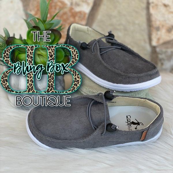 Corkys Kayak Grey Corduroy Slip On Tennis Shoes