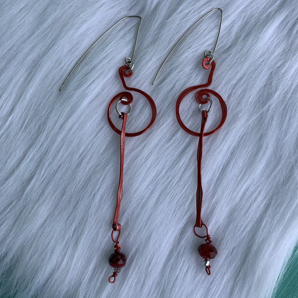 Red Titanium Metal Hammered Crystal Earrings