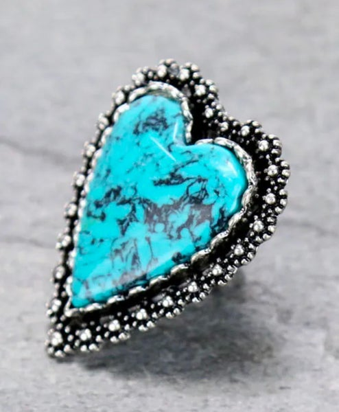 Large Turquoise Marble Heart Ring