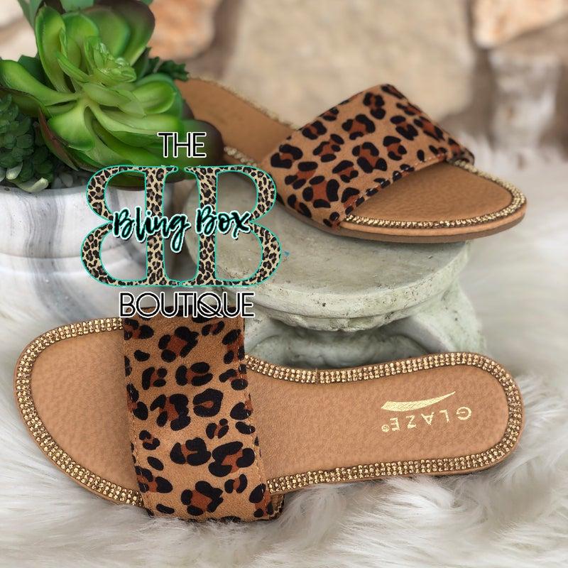 Glaze Leopard Bling Lined Honey Sandals
