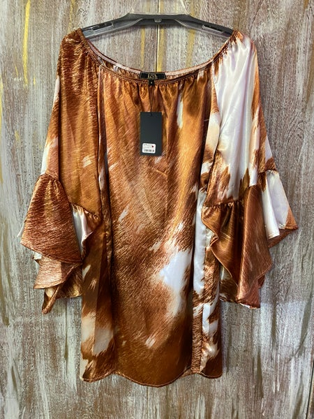 Cowhide Print Off The Shoulder Tunic