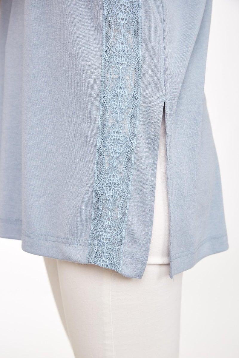 Dusty Blue Lace Trim Neck Tie Top