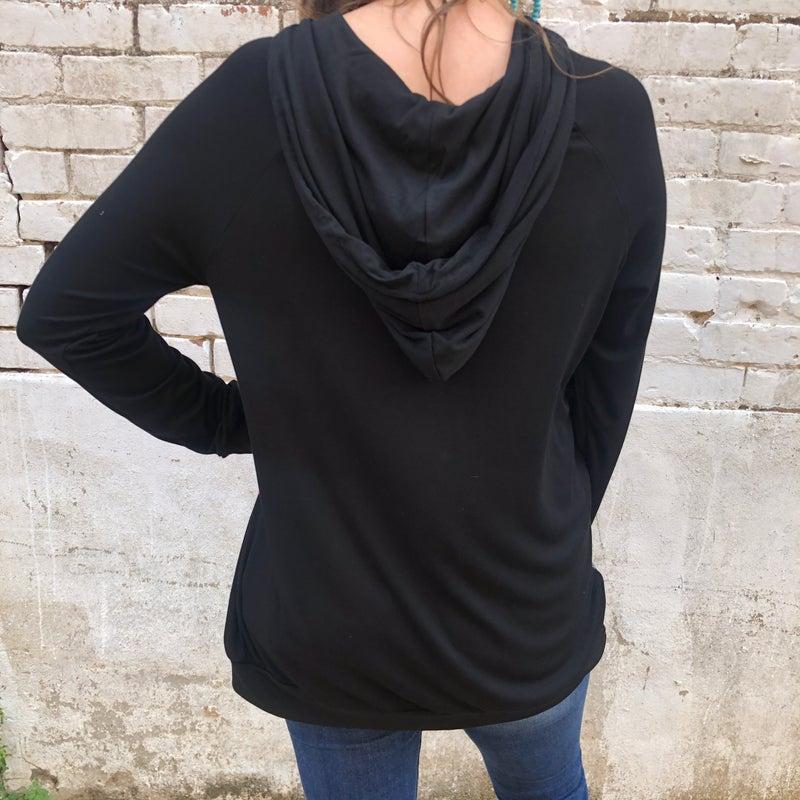 Sequin Serape Black Hoodie Pullover Top