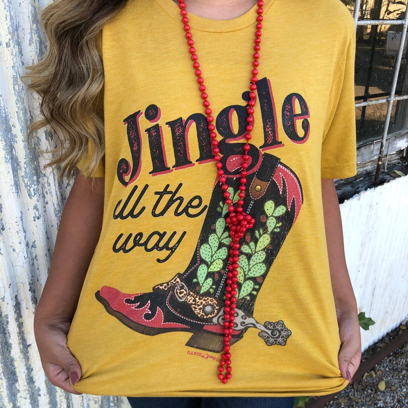 Jingle All The Way Boots Mustard T-Shirt