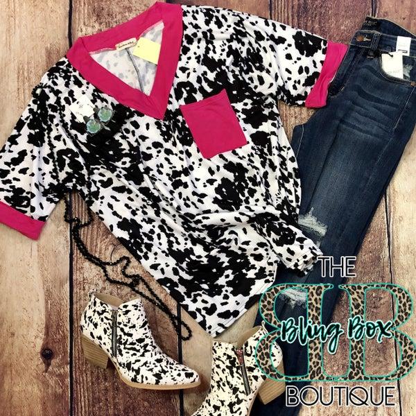 Hot Pink V-Neck Cow Print Top