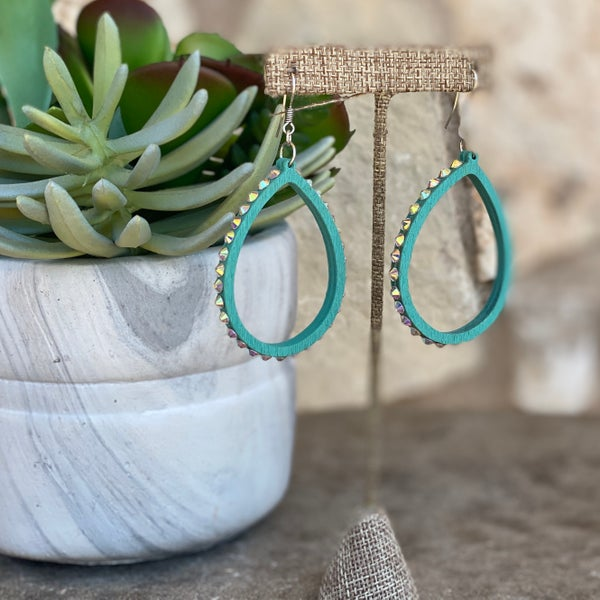 Turquoise Wood AB Stone Teardrop Earrings