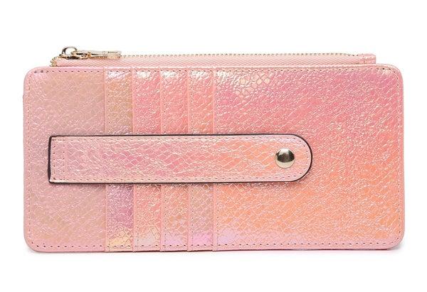 Shimmer Pink Saige Slim Card Holder Wallet