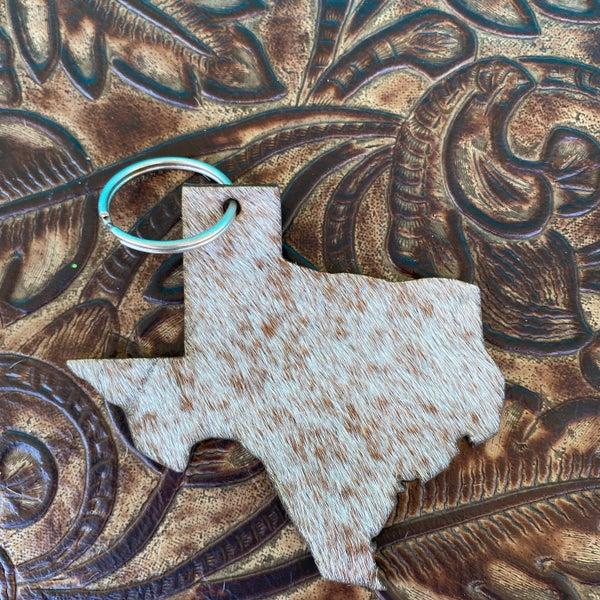 "Leather Cowhide 3"" x 3"" Texas Keychain #6"