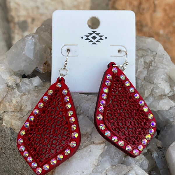 Red Wood Casting Filgree AB Stone Earrings