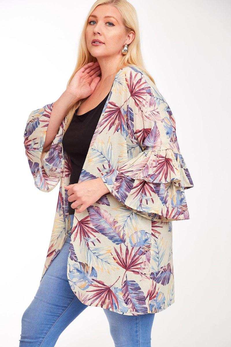 PLUS Tropical Print Ruffled Sleeve Kimono