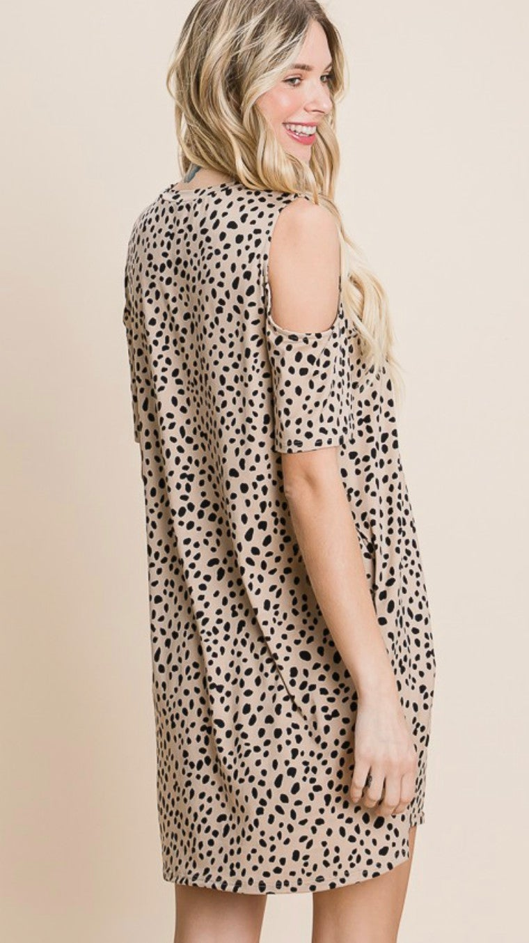 Leopard Print Cold Shoulder Dress with Pockets