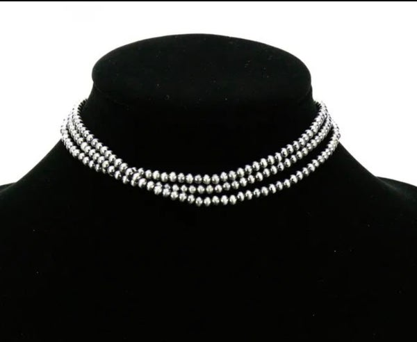 4 mm 3-strand Navajo Pearl Choker Necklace