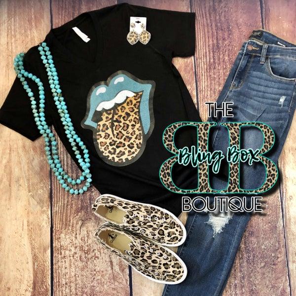 Turquoise Lips Leopard Tongue Black V-Neck T-Shirt