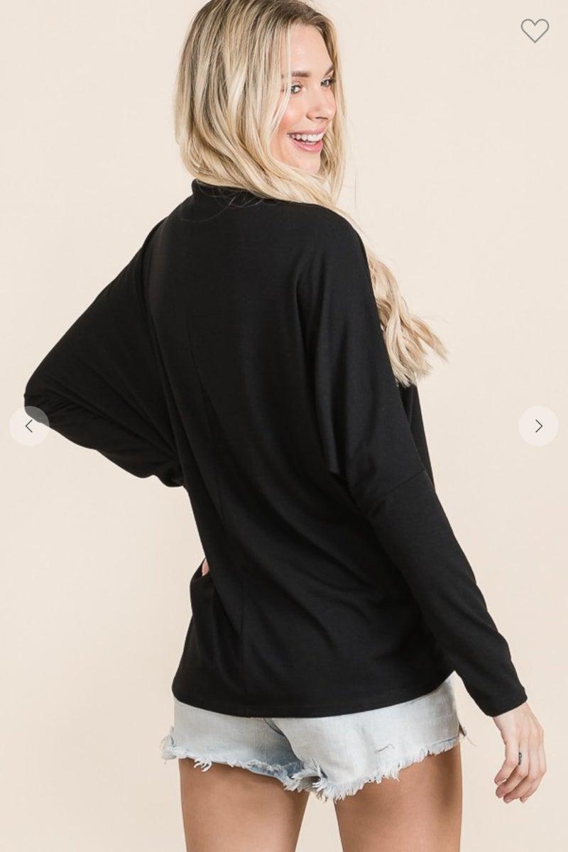 Black Mock Neck Style Dolman Top