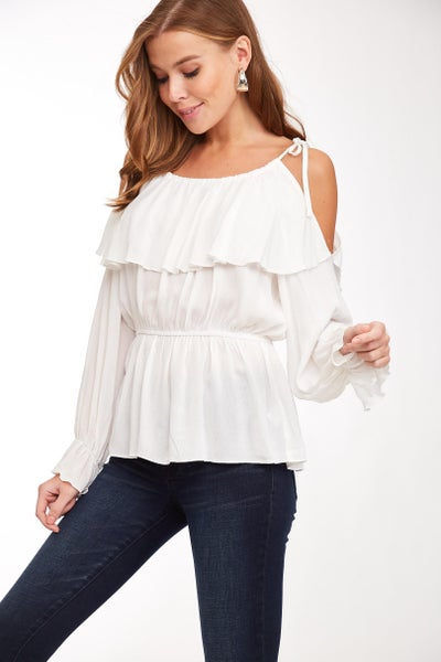 White Cold Shoulder Ruffled Long Sleeve Top