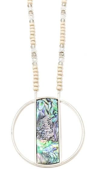 "Tara Abalone Stone Beaded 33"" Chain Necklace Set"