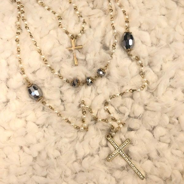 3 Layered Pearl Chain Rhinestone Cross Necklace Set