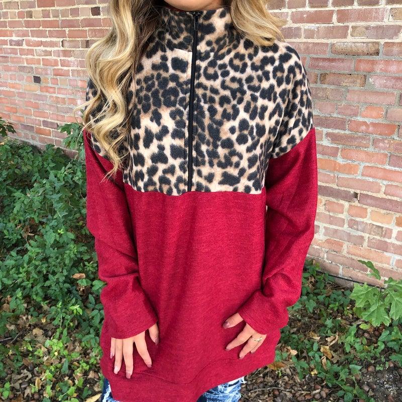 Leopard & Burgundy Print Fleece Zip up Pullover