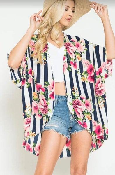 Navy Striped Floral Kimono