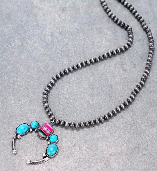 Turquoise & Serape Navajo Style Bead Squash Blossom Pendant Necklace